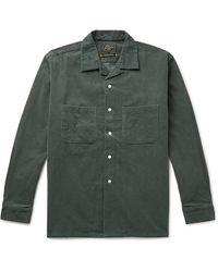 Beams Plus Camp-collar Cotton-corduroy Shirt - Green