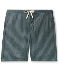 Oliver Spencer Townsend Striped Organic Cotton Pajama Shorts - Green