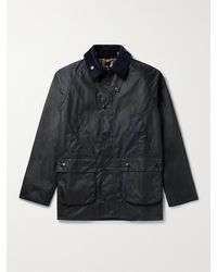 Barbour White Label Bedale Corduroy-trimmed Waxed-cotton Jacket - Blue