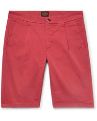 Tod's Pleated Stretch-cotton Twill Shorts - Red