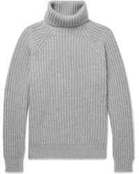 Brunello Cucinelli - Ribbed Cashmere Rollneck Sweater - Lyst