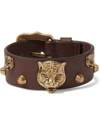 Gucci - - Studded Leather And Burnished Gold-tone Bracelet - Tan - Lyst