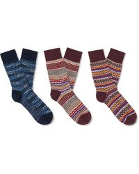 Missoni Three-pack Crochet-knit And Cotton-blend Socks - Multicolor