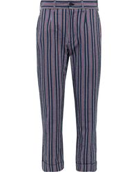 Engineered Garments Andover Tapered Striped Cotton-blend Seersucker Suit Pants - Blue