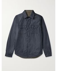 Aspesi Reversible Nylon And Twill Overshirt - Blue