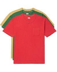 Visvim Three-pack Cotton-jersey T-shirts - Red