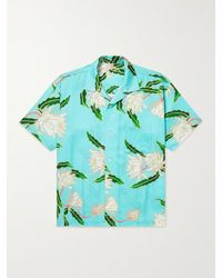 Flagstuff Queen Of The Night Convertible-collar Floral-print Shirt - Blue