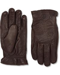 Hestra Frode Wool-lined Full-grain Leather Gloves - Brown