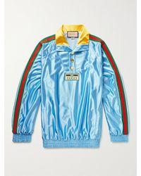 Gucci Slim-fit Logo-appliquéd Webbing-trimmed Satin-jersey Track Jacket - Blue