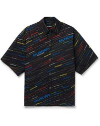 Balenciaga Padded Slide Logo Printed Cotton Shirt - Black