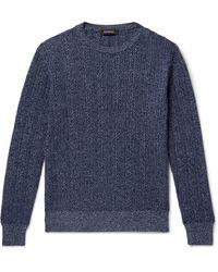 Ermenegildo Zegna Cable-knit Mélange Cashmere And Cotton-blend Jumper - Blue