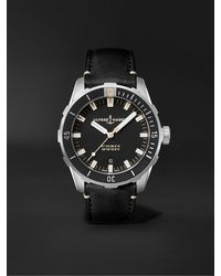 Ulysse Nardin Diver Automatic 42mm Stainless Steel And Leather Watch - Black