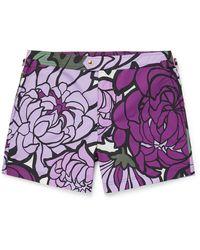 Tom Ford Mid-length Floral-print Swim Shorts - Purple