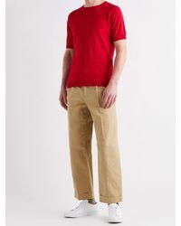 John Smedley Cbeldon Merino Wool And Cotton-blend T-shirt - Red