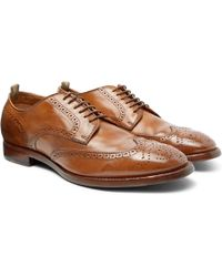 Officine Creative - Princeton Burnished-leather Wingtip Brogues - Lyst