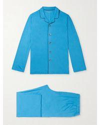 Derek Rose Stretch Micro Modal Jersey Pyjama Set - Blue
