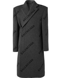 Balenciaga Men's Cashmere Intarsia Logo Shift Overcoat - Grey