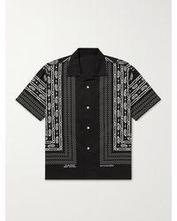 Flagstuff Convertible-collar Bandana-print Cotton-poplin Shirt - Black