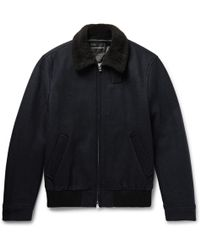 Club Monaco - Shearling-trimmed Wool-blend Bomber Jacket - Lyst