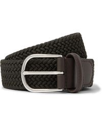 Andersons 3.5cm Midnight-blue Woven Waxed-cord Belt - Green