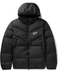 Nike Logo-appliquéd Quilted Shell Down Jacket - Black