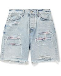 Amiri Thrasher Panelled Slim-fit Distressed Denim Shorts - Blue