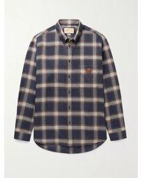 Gucci Button-down Collar Logo-appliquéd Checked Wool-flannel Shirt - Blue