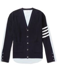 Thom Browne - Striped Panelled Cotton Cardigan - Lyst