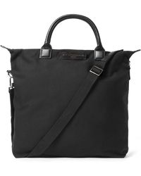 Want Les Essentiels De La Vie O'hare Leather-trimmed Organic Cotton-canvas Tote Bag - Black