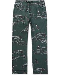 Desmond & Dempsey Bocas Print Cotton Pyjama Trousers - Green