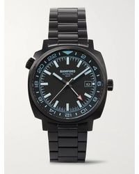 BAMFORD LONDON Gmt Automatic 40mm Brushed Stainless Steel Watch - Black