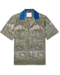 Sacai + Sun Surf Diamond Head Camp-collar Velvet-trimmed Printed Voile Shirt - Green