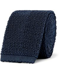 Dunhill 6cm Knitted Mulberry Silk Tie - Blue