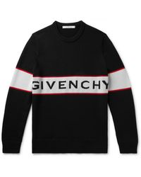 Givenchy Logo-jacquard Wool Sweater - Black