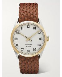 Tom Ford 002 Automatic 40mm 18-karat Gold And Alligator Watch - Brown
