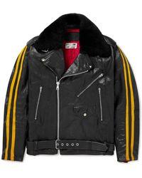 Our Legacy 118 Second Läder Faux Fur-trimmed Striped Leather Jacket - Black