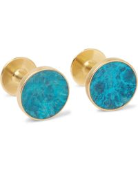 Alice Made This Bayley Marble-effect Gold-tone Cufflinks - Blue