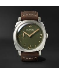 Panerai Radiomir Automatic 45mm Stainless Steel And Leather Watch - Green