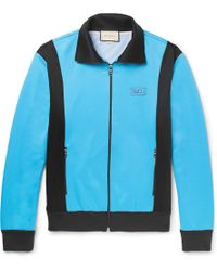 Gucci Slim-fit Appliquéd Jersey Zip-up Jumper - Blue