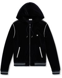 CELINE HOMME Logo-appliquéd Cotton-blend Velour Zip-up Hoodie - Black