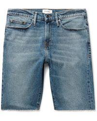 FRAME Frayed Stretch-denim Shorts - Blue