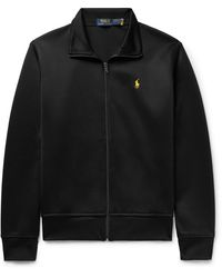 Polo Ralph Lauren Piped Logo-embroidered Tech-jersey Track Jacket - Black