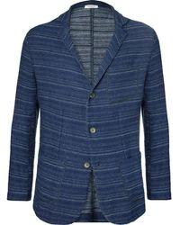 Eidos | Blue Nicola Striped Cotton And Linen-blend Blazer | Lyst