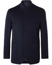 Kingsman Slim-fit Nehru-collar Cashmere Blazer - Blue