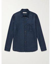 Umit Benan B+ Umit Benan B - Houndstooth Cashmere And Silk-blend Shirt - Blue