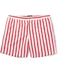 Tod's Mid-length Striped Swim Shorts - Red