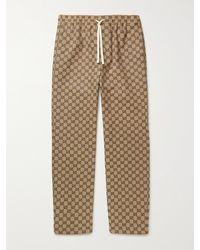 Gucci Logo-jacquard Cotton-blend Canvas Drawstring Trousers - Brown