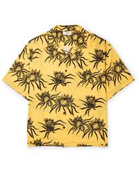 CELINE HOMME Oversized Camp-collar Carnivorous Floral-printed Viscose Shirt - Yellow