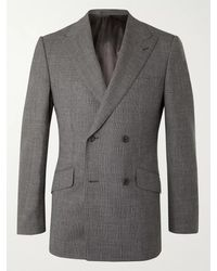 Kingsman Archie Reid Slim-fit Double-breasted Prince Of Wales Checked Wool Suit Jacket - Grey