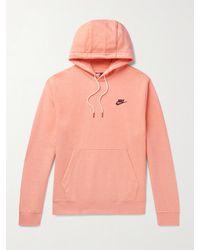 Nike Logo-print Cotton-blend Jersey Hoodie - Pink